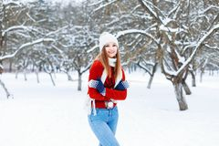 Young fashionable girl in a warm vintage winter clothes in winte Stock Photography