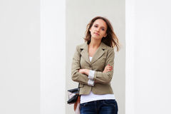 Young fashionable woman daydreaming Stock Images