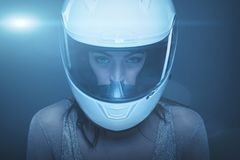 Young fashionable woman in helmet portrait Royalty Free Stock Image