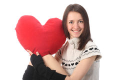 Young fashionable woman holding red heart Stock Image