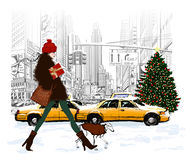 Young fashionable woman shopping in New-York. For Christmas - vector illustration Royalty Free Stock Photography