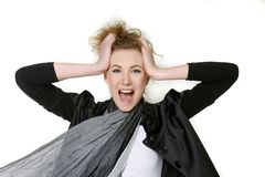 Young fashionable woman shouting loudly Royalty Free Stock Photo