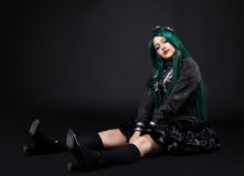 Young fat girl portrait in dark cosplay character Royalty Free Stock Image
