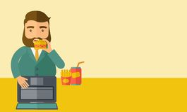 Young fat guy eating while at work Stock Images