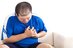 Young fat man getting heart attack Royalty Free Stock Photos