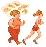 Young fat and thin woman jogging. Young woman jogging. Fat woman jogging, dreams of high-calorie foods. Health and fitness. Vector illustration. Isolated on Royalty Free Stock Photo