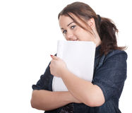 Young fat woman with blank card Royalty Free Stock Photos