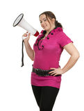 Young fat woman with megaphone Royalty Free Stock Images