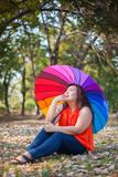 Young fat woman sitting Stock Images