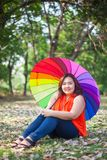Young fat woman sitting Royalty Free Stock Images