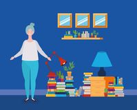 Young fat woman standing in the library room. Vector illustration design royalty free illustration