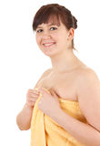 Young fat woman in towel, after shower Royalty Free Stock Photography