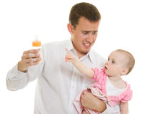 A young father with a baby Stock Images
