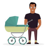 Young father with a baby carriage on the background of white. Cartoon illustration Royalty Free Stock Photos