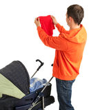 Young father with  baby stroller Stock Photos