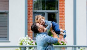 Young father with a child at outdoor royalty free stock photos