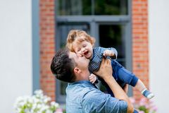 Young father with a child at outdoor royalty free stock image