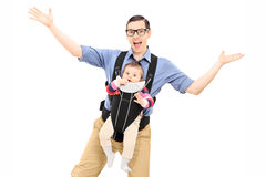 Free Young Father Dancing And Carrying His Baby Daughter Royalty Free Stock Photo - 41159565