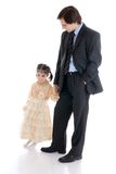 The young father with the daughter isolated Stock Photography