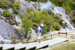 Young father with daughter observing Thermal area Orakei Korako, Stock Images