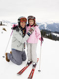 Young Father And Daughter On Ski Vacation Stock Images