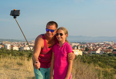 Young father with daughter taking selfie Royalty Free Stock Images