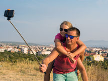 Young father with daughter taking selfie Royalty Free Stock Photography