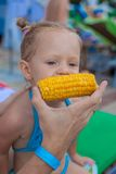 Young father feeds his little daughter corn near Royalty Free Stock Image