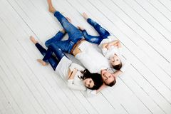 Young father have fun with daughter and son royalty free stock image