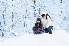 Young father and his cute laughing son sledding stock photos