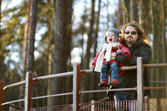 Young father and his daughter enjoying a view Royalty Free Stock Photo