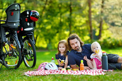 Young father and his daughters having a picnic Royalty Free Stock Photography