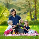 Young father and his daughters having a picnic Stock Photo