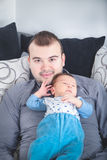 Young Father and His Little Baby Boy Together royalty free stock image