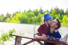 Young father and his little cute daughter have fun Royalty Free Stock Images
