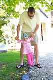 Young father with his little daughter outdoors stock photos