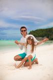 Young father and his little daughter sitting on Stock Image