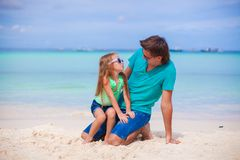 Young father and his little daughter on tropical Royalty Free Stock Photo