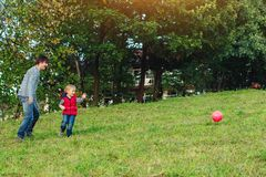 Young father with his little son playing football on green grassy lawn. Young father with his little son playing football on a green grassy lawn royalty free stock image