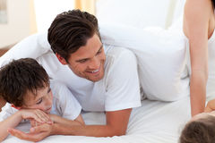 Young Father and his son having fun Royalty Free Stock Images
