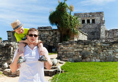Young father with his son sightseeing. In Tulum, Mexico Royalty Free Stock Image
