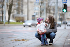 Young father and his toddler girl at autumn Royalty Free Stock Photography