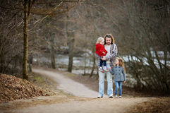 Young father and his two little daughters Royalty Free Stock Images