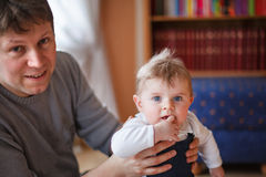 Young father and little baby boy of six months Royalty Free Stock Photography