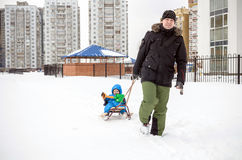 Young father and little boy enjoying sleigh ride. Child sledding. Toddler kid riding sledge. Children play outdoors in snow. Kids Royalty Free Stock Photography