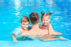 Young father with little children in swimming pool. On sunny day royalty free stock images