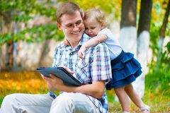 Young father and little daughter having fun Stock Photography