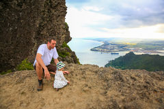 Young father with  little daughter on top of Mount Manaia. Stock Photo