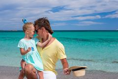 Young father and little daughter during tropical Stock Images