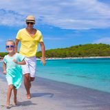 Young father and little daughter during tropical Stock Photography